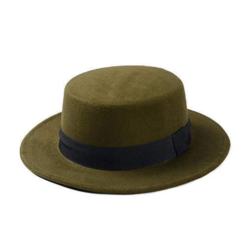 LLP-HAT Brand New Wool Boater Flat Top Hut für Frauen Filz Wide Brim Fedora Hut Laday Prok Kuchen Chapeu de Feltro Bowler Gambler Top Hut (Farbe : Green, Größe : 56-58cm) (Riddler Kostüm Hut)