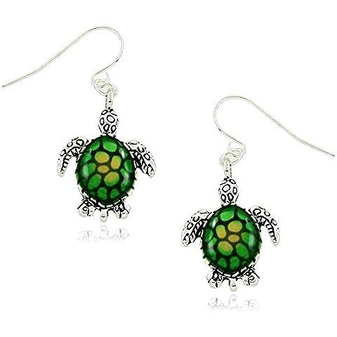Pequeño verde/amarillo tortuga de mar charm Pendientes largos bisutería de moda