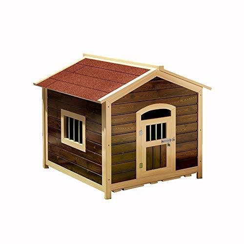 Haustierhaus, Hundehütte aus massivem Holz karbonisiert im Freien Katzenstreu-Hundekäfig Wasserdichter Sonnencreme-Antikorrosionshäuschen