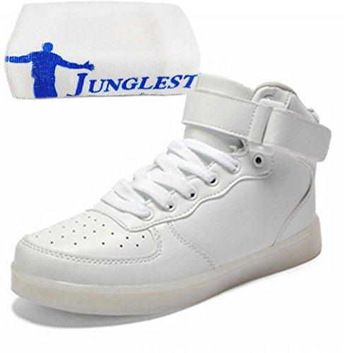 (present: Pequena Toalha) Junglest® 7 Mudam De Cor De Carregamento Usb Levou Luz Brilhante Sapatos De Desporto De Moda Sapatos Casuais Sapatos Ao Ar Livre Que Funcionam Shoes Sapatilha F Branco