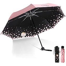 Meiyijia Paraguas Plegable, Mini Paragua,Paraguas Ultraligero,Protección UV, Doble-Uso Paraguas del Sol/Lluvia, Conveniente para Viajes,expandir 96cm