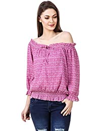 Mind The Gap Pink Cotton Crepe Printed Balloon Top