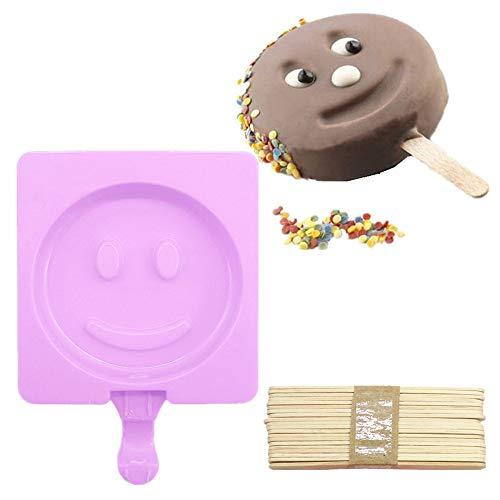 gelform Eiswürfelbehälter Silikon Schwarz Ice Cube Tray Würfel Eiswürfel für Familie Partys,Eiscreme-Form-Eislutscher formt Eiswürfel mit dem eingefrorenen Stock-Behälter-Eis,Rosa ()