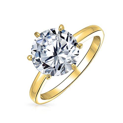 Bling Jewelry Einfache 2.75 Ct 6 Zinke Brillanten AAA Cz Solitär Verlobungsring Für Damen 14K Vergoldet Sterling Silber 925