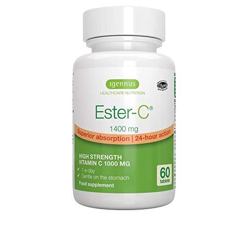Ester-C 1400mg, hoch absorbierbares Vitamin C 1000mg, 24-Stunden Wirkung, vegan, 60 Tabletten -