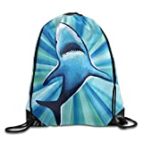 gthytjhv Angry Shark Christmas Unisex Gym Drawstring Shoulder Bag Backpack String Bags Lightweight Unique 16.9x14.2