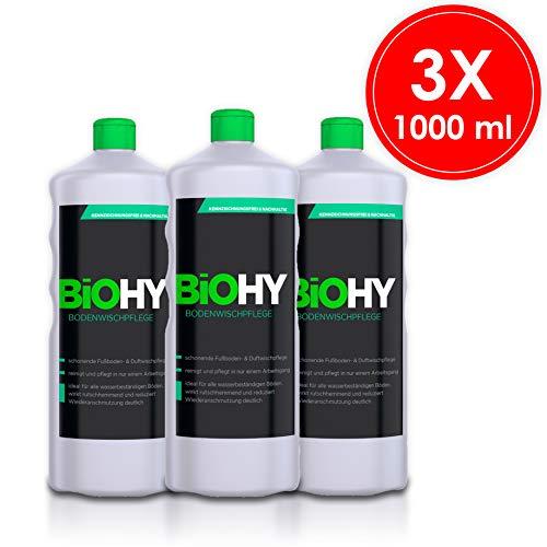 Biohy detergente per pavimenti - confezione da 3 (3 x 1 litro) detergente concentrato per pavimenti, cura lucida - cura delicata per pavimenti e profumi, pulizia professionale - detergente biologico.
