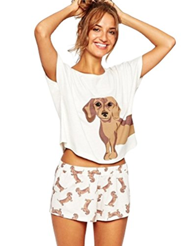 Dooxi Mujer Verano Encantador Perro Pijama Manga Corta T Shirts y Pantalones...
