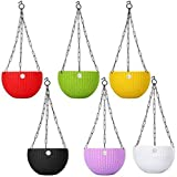 Abasr Hanging Baskets Rattan Waven Flower Pot Plant Pot with Hanging Chain for Houseplants Garden Balcony Decoration in Multicolor (Pack of 6)