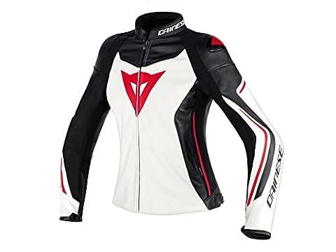 Dainese Assen Damen Frauen Leder Motorradjacke, Weiß/Schwarz/Lava Rot, Größe