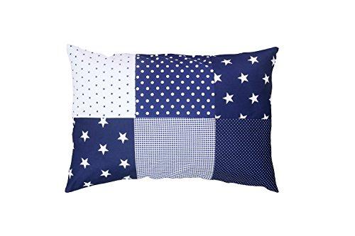 ULLENBOOM ® Baby Kopfkissenbezug 40x60 Blaue Sterne (mit Reißverschluss, Bezug auch für Dekokissen geeignet, Motiv: Sterne, Patchwork Design)