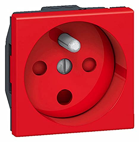 Legrand LEG77114 Mosaic Prise programmable 2P+T droite à détrompage à vis 2 modules Rouge