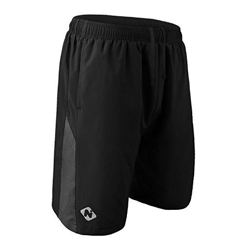 NAVISKIN Pantaloncini Traspirante da Uomo per Corsa, Calzoncini Sportivi con Tasche con Zip e Catarifrangente, Pantaloni Corti da Allenamento per...