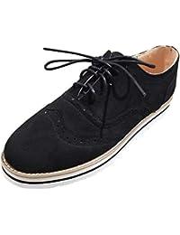 Zapatos planos casual con correa de mujer,Sonnena ❤️ Zapatos de punta redonda para mujer Color sólido fondo plano de longitud de tobillo Casuals de cordones de gamuza deporte