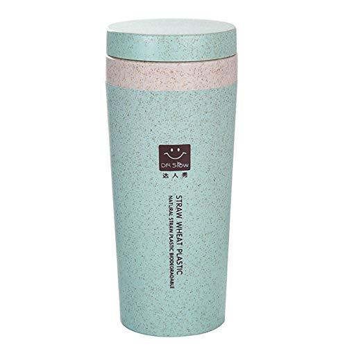 Syeytx Portable Plastikbecher Reisebecher Büro Kaffee Tee Wasserflasche Tassen Stroh Weizen Plastlc Cup (Tasse Kaffee Eule Blaue)