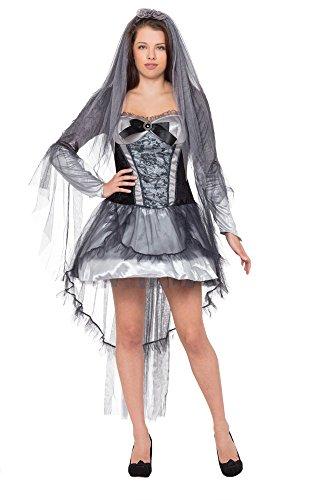 1Dark Braut Kostüm, schwarz, UK Größe 10–14 (Zombie Braut Halloween-kostüme Uk)