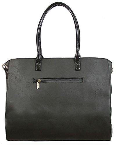 Kukubird Hi-Gloss dettaglio ecopelle design Large Tote Handbag Shoulder Bag Grey