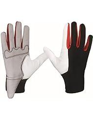 Wonderfully Glove Caballos Guantes de Equitación Advanced cómodo duradero Lycra y piel de oveja diseñados guantes de golf para hombres o mujeres (negro y blanco) (negro y blanco, L)