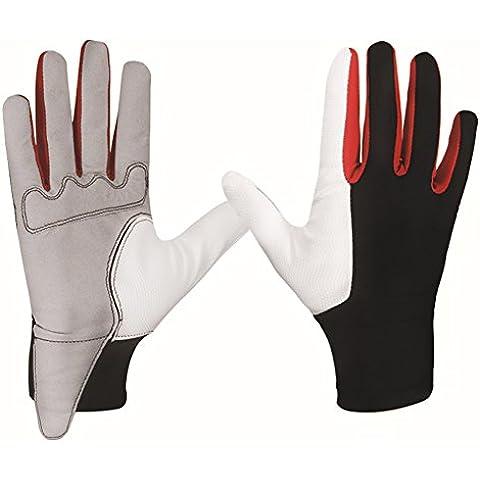 Wonderfully Glove Caballos Guantes de Equitación Advanced cómodo duradero Lycra y piel de oveja diseñados guantes de golf para hombres o mujeres (negro y blanco) (negro y blanco, M)