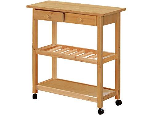 Loft24 DAGDA Küchenwagen Servierwagen Küchentrolley Rollwagen 2 Schubladen 1 Weinregal Kiefer Holz gebeizt geölt -