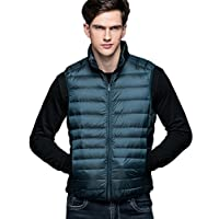 LvRao Mens Sleeveless Down Vest Ultralight Puffer Quilted Padded Gilet Stand Collar Waistcoats with Zip (Blue Green, CN M)