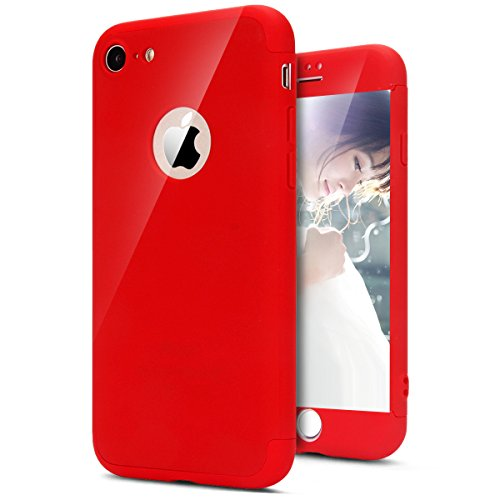 Coque iPhone 7, Coque iPhone 7 Integrale Rigide, SainCat Ultra Slim Rigide Solide Plastique Coque pour iPhone 7 360 Degres Rigide, Coque Ultra Fine Dure pour Fille Ultra Resistante Full Cover Anti-Scratch Ultra Fine Cover Coque Plastique Souple, Coque Rigide Ultra Mince Premium Shockproof Ultra Thin Coque Housse Bumper Cover pour iPhone 7 4.7-Rouge