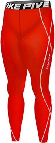 Nueva 167rojo piel mallas deportivas de compresión base capa pantal