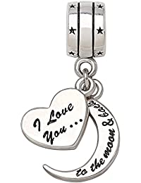 """ALOV Jewelry Sterling Silver """"I Love You To The Moon and Back"""" Two-Piece Pendant Bead Charm For Valentine's Day"""