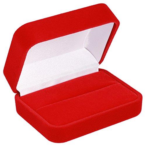 EYS JEWELRY® étui à bijoux pour bagues de mariage alliance 70 x 60 x 30 mm velours rouge boîte à bague écrin emballage cadeau