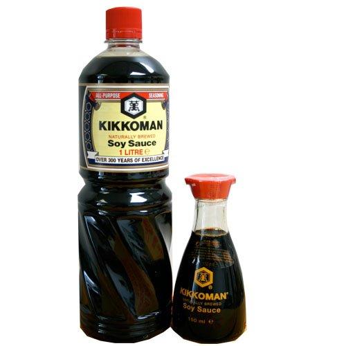 1Liter Kikkoman PET Sojasauce + 150ml Tischflasche aus Glas