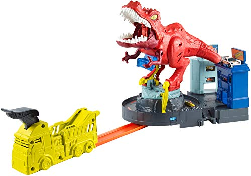 Hot Wheels GFH88 - City T-Rex Attacke Dinosaurier Trackset Spielset mit Auto, -