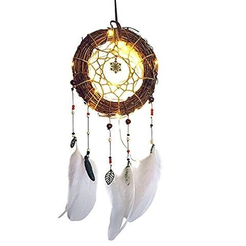 LEDMOMO Caught Dreams Dream Catcher LED Light Rattan Hoop Suspensable Hang Decoration Night Light
