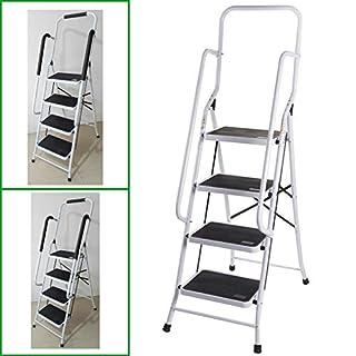 Autofather 4 Thread Steel Step Ladder with Handrail Support 150KG Load Capacity Heavy Duty Anti-slip Feet Mat Safety Folding Tool, 2 Year Warranty
