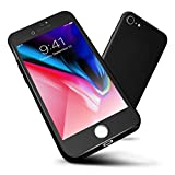 iPhone 7 Case, ORETech 360 Full Body Protection Ultra-Thin Case with [2-Pack Transparent Tempered Glass Screen Protector], Anti-Scratch Hard PC Slim Case for iPhone 7 Cover - 4.7 inch - Black
