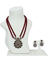 Ratnatraya Red Kundan Heavy Red Carnelian Crystal Two Layered Stone Pendant Necklace Set With Earrings | Traditional...