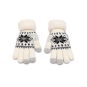 Chinashow Damen Knit Touchscreen Handschuhe – 3 Finger Touchscreen Winter extra warme Handschuhe Snowflake Weiche Wollfutter Handschuhe Weiß