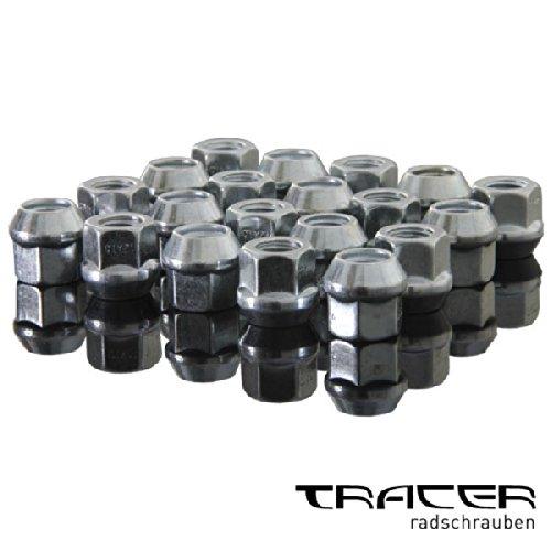 Tracer 4019484845157 Radmuttern offen 20 Stücke, Silber