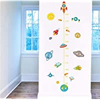 Zxfcczxf Child Height Measurement Wall Sticker Decoration Creative Spacecraft Rocket Solar Earth Child Growth Chart Sticker Decal 40 * 70Cm