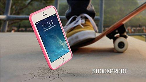 iPhone SE 5 5s Case, Hülle True Color® Schmal Chevron Waves Gedruckt auf freier transparenter Hybrid -Abdeckung Hard + Soft Slim dünnen haltbaren Schutzschutz aus Gummi TPU Stoßabdeckung - Teal Breite Pink