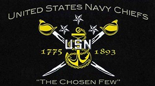 US Navy Chiefs Flagge 5ft x 3ft groß-100% Polyester-Metall Ösen-doppelt genäht (Us-navy Chief)