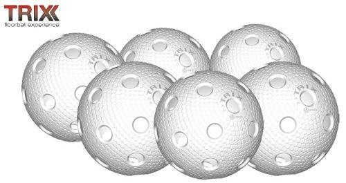 Preisvergleich Produktbild TRIX Unihockey / Floorball Ball 6er Pack MATCHBALL weiß