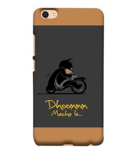 Takkloo Dhoom macha le ( Bat in Black, Super hero on black bike, man wearing black mask, Cartoon, Grey Background) Printed Designer Back Case Cover for Vivo Y55L  available at amazon for Rs.399