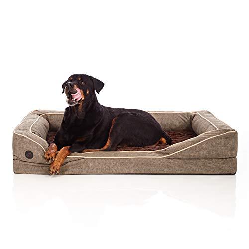Pets&Partner® Orthopädisches Hundebett, Memory Faom und Plüsch für große Hunde, Braun, L