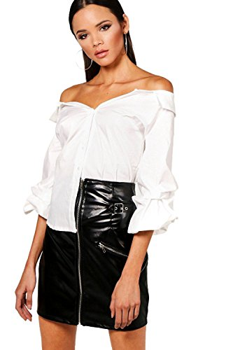 blanc Femmes chemise et manches à volants Hannah Blanc
