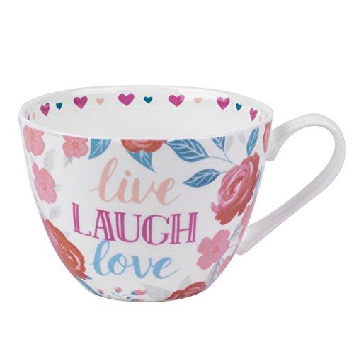 Portobello cm06017Wilmslow Live Laugh Love Floral Becher, Multi, 50x 39 Floral Becher