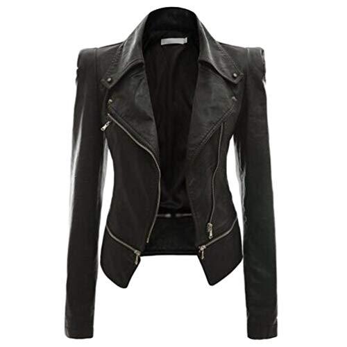 Yuanu Femme Automne Hiver Faux Cuir PU Motard Veste Outwear Couleur Unie Manches Longues Revers Zip Placket Manteau Noir M