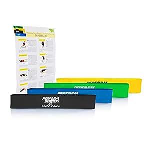 Minibands 4er-Set, Stärke leicht bis extra stark inkl. Übungsposter