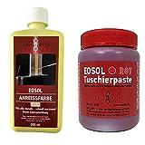 EOSOL Set Nr. 1 GELB/ROT (500 ml Anreissfarbe SIGNAL-GELB (FLUORESZIEREND und UV-AKTIV) und 250 ml Tuschierpaste rot)