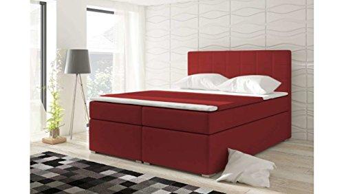 JUSTyou Alicie Boxspringbett Continentalbett Doppelbett Kunstleder (HxBxT): 126x180x200 cm Rot
