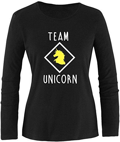 EZYshirt® Team Unicorn Damen Longsleeve Schwarz/Weiss/Gelb